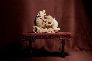 Chinese Twin Fish Jade Vase