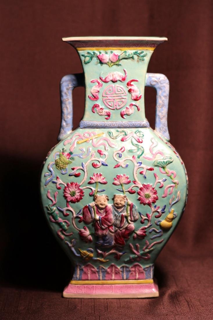 Chinese Famille Rose Porcelain Moonflask Vase