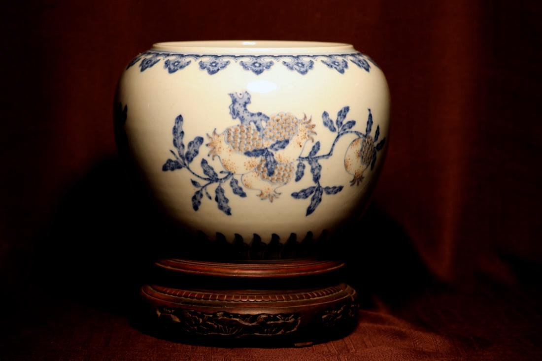 Chinese Porcelain Scholar Fishbowl with Wood Base