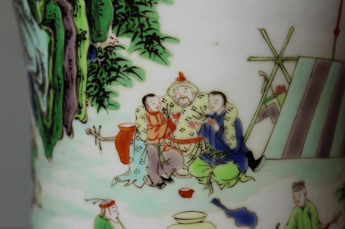 Chinese Wucai Porcelain Brushpot - Qing Court Officer - 5