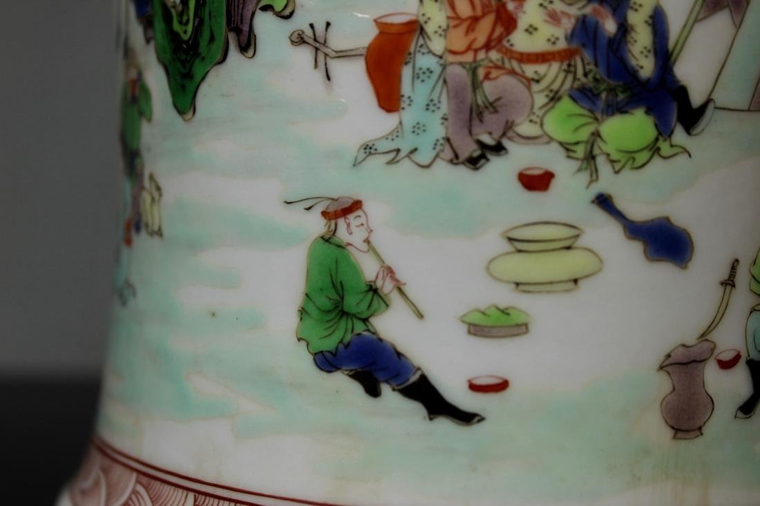 Chinese Wucai Porcelain Brushpot - Qing Court Officer - 6