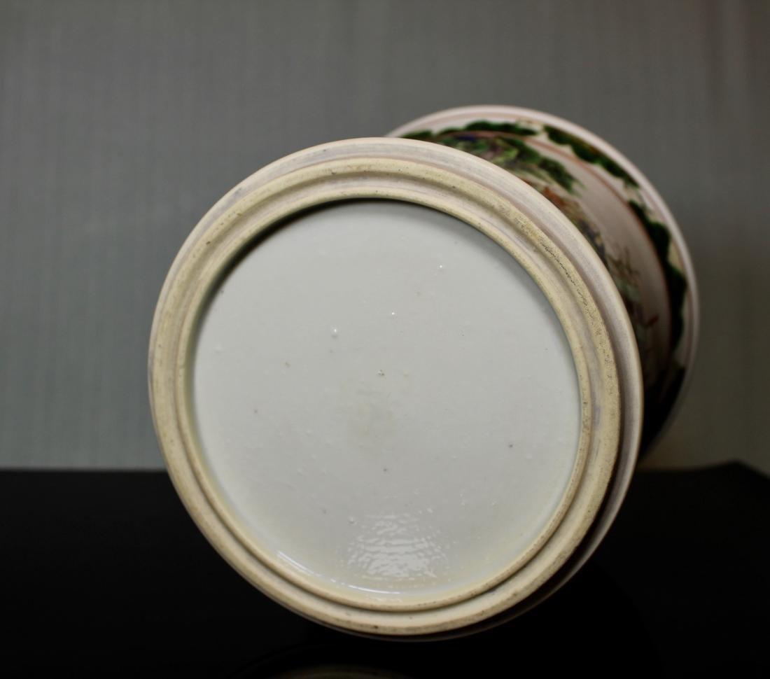 Chinese Wucai Porcelain Brushpot - Qing Court Officer - 7