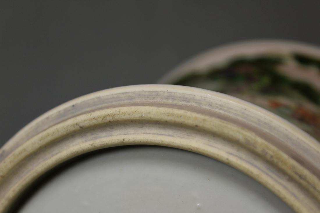Chinese Wucai Porcelain Brushpot - Qing Court Officer - 9