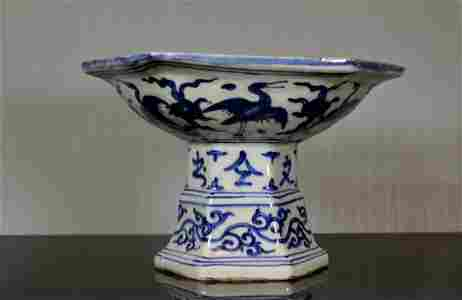 Chinese Export Blue White Porcelain Tazzar with Dragon