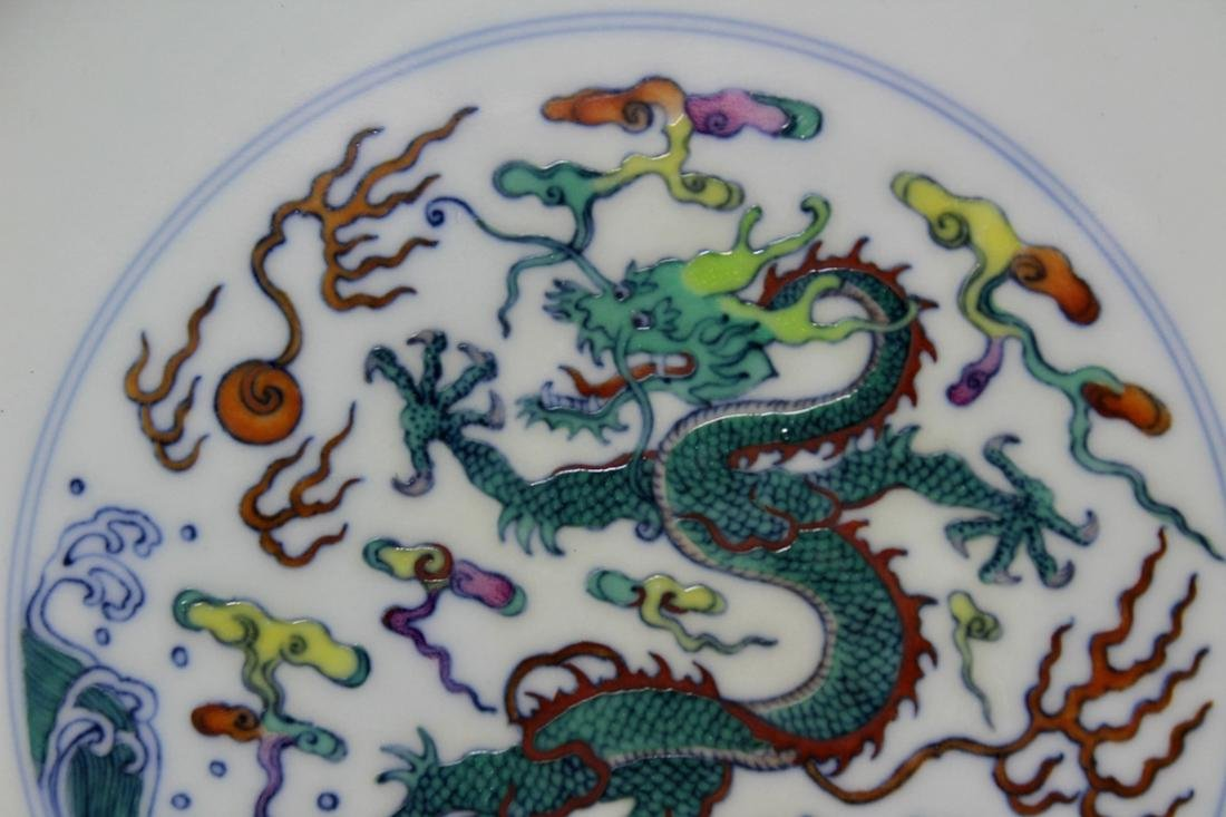 Chinese Doucai Porcelain Dragon Motif Dish - Albert - 2