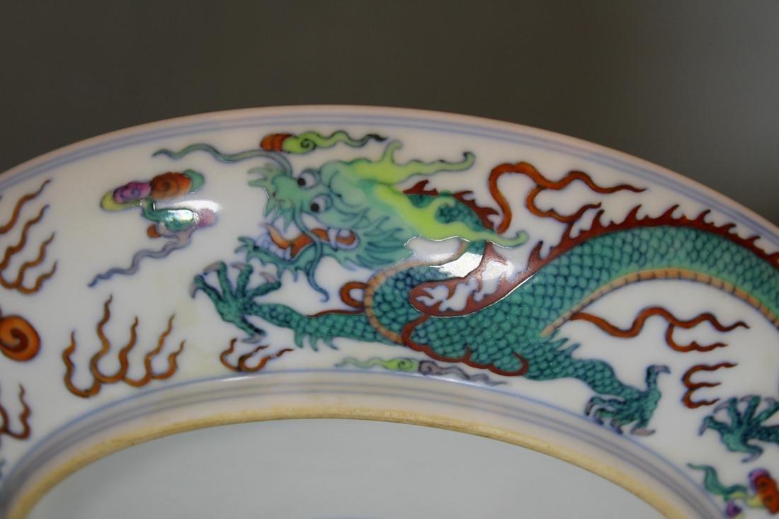 Chinese Doucai Porcelain Dragon Motif Dish - Albert - 4