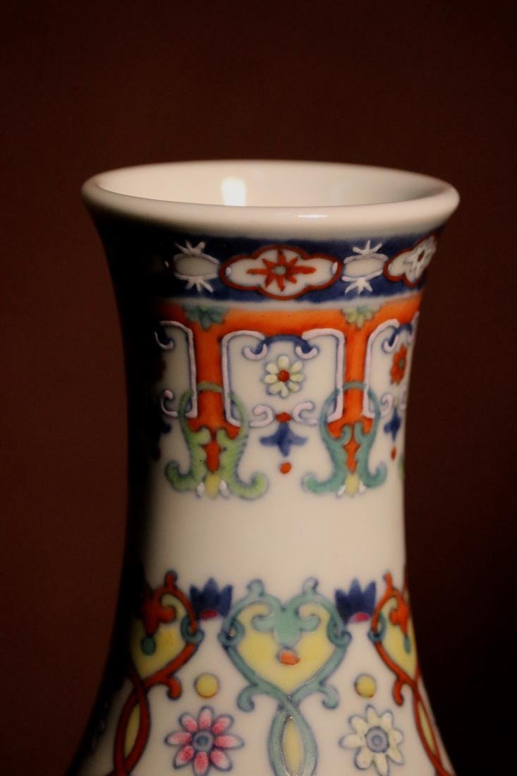 Chinese Porcelain Bottle Vase with Lotus Motif - 4