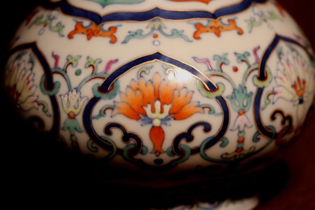 Chinese Porcelain Bottle Vase with Lotus Motif - 5