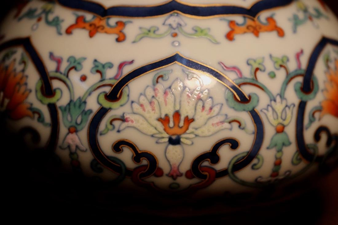 Chinese Porcelain Bottle Vase with Lotus Motif - 7
