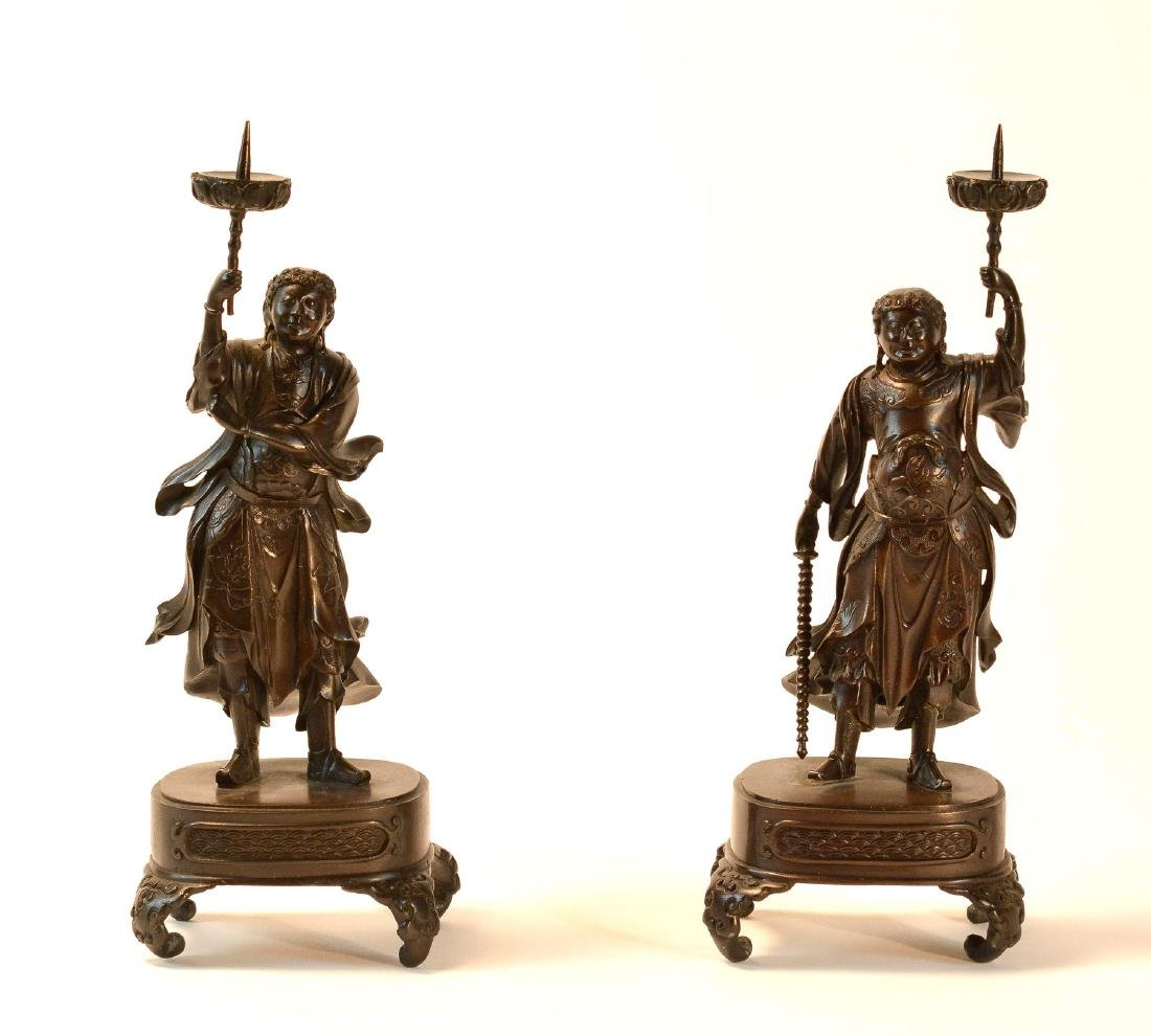 Pair Japanese Bronze Guardian Okimono on Stand