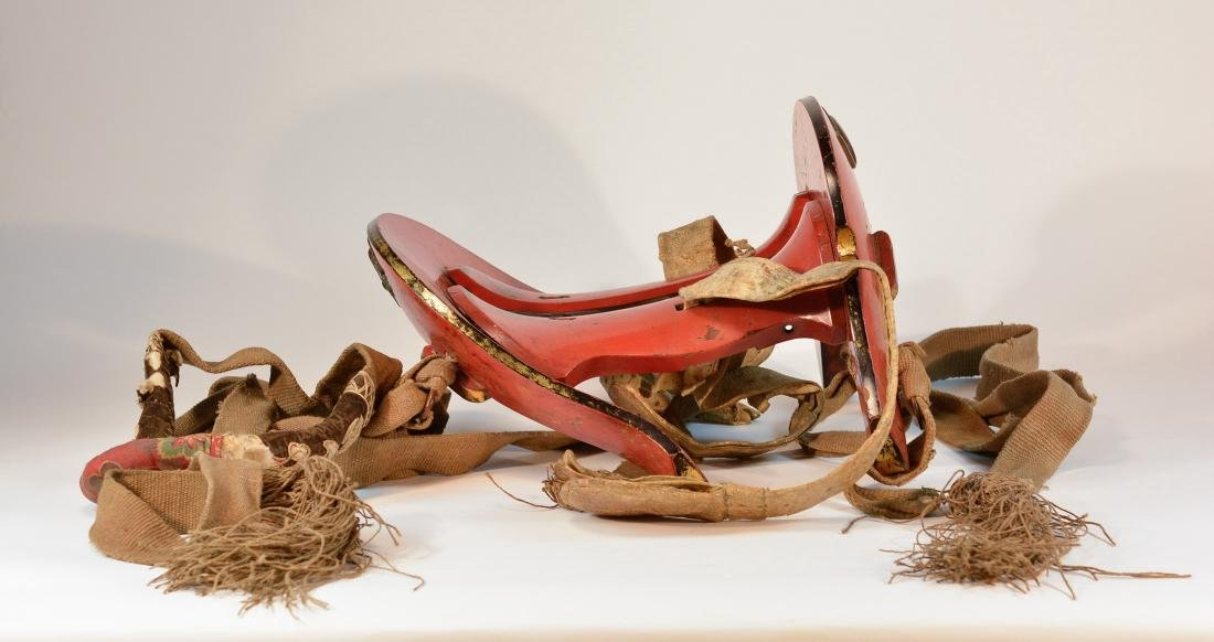 Japanese Lacquered Horse Saddle with Original Fitting