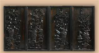 Set of Four Chinese Hardwood Wall Panel with Floral