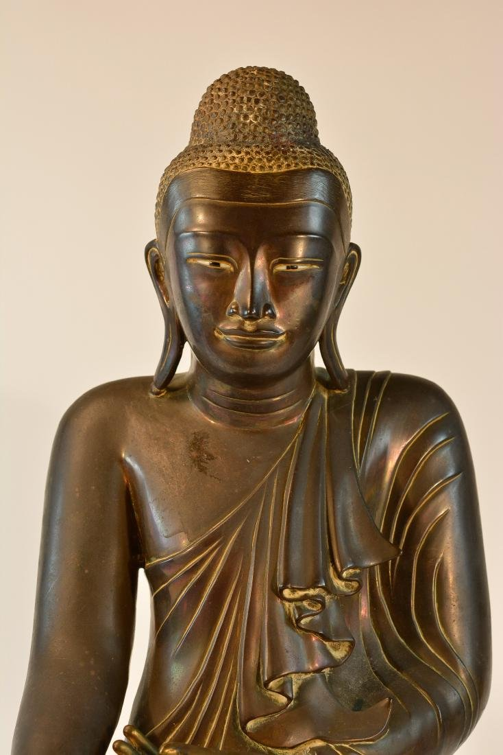 Large Thai Bronze Seated Buddha with Inscription - 2