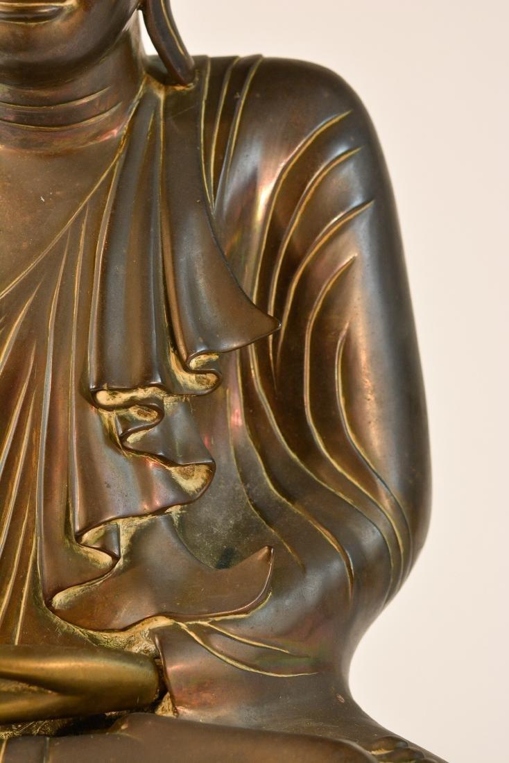 Large Thai Bronze Seated Buddha with Inscription - 3