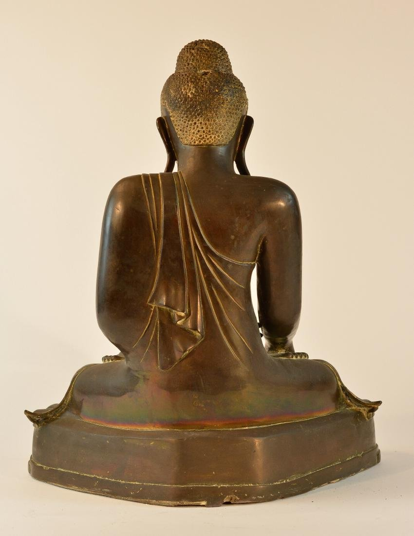 Large Thai Bronze Seated Buddha with Inscription - 8