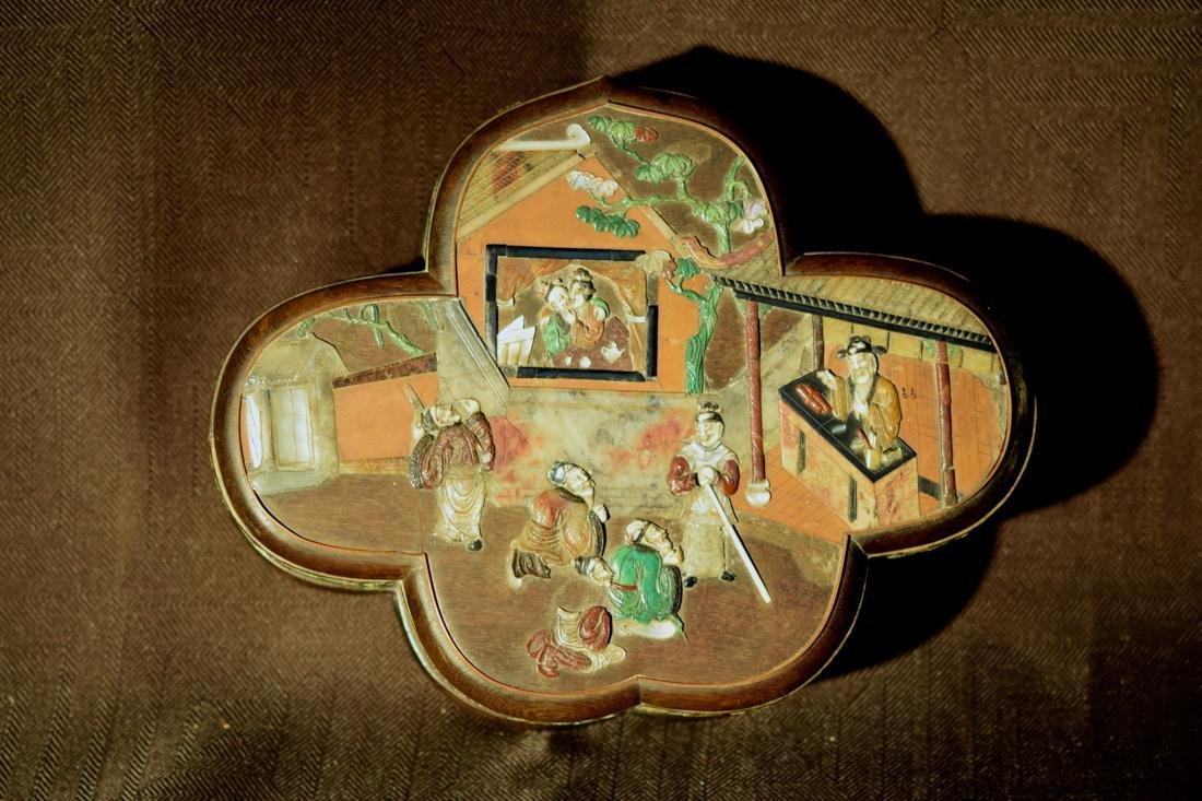 Chinese Jiche Wood Box with Soapstone Inlay - 3