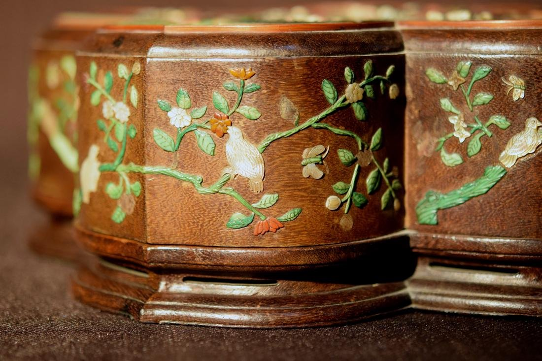 Chinese Jiche Wood Box with Soapstone Inlay - 8