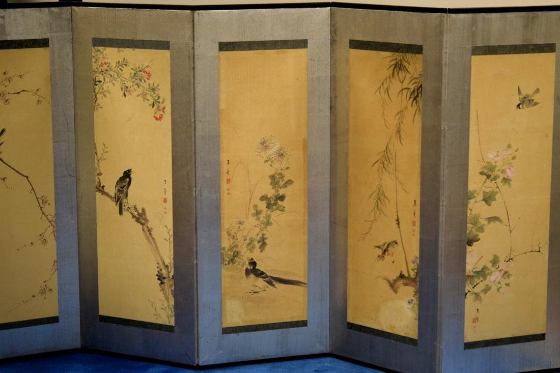 Japanese Six Panel Painting Screen