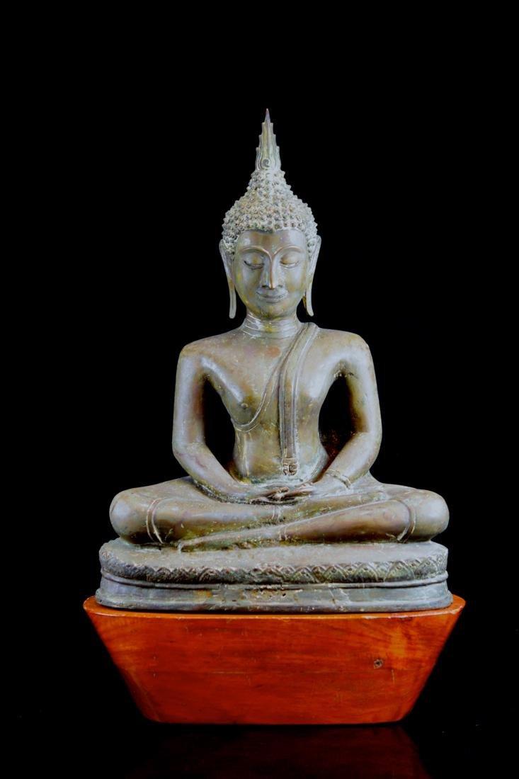 Antique Thai Bronze Seated Buddha with Wood Base
