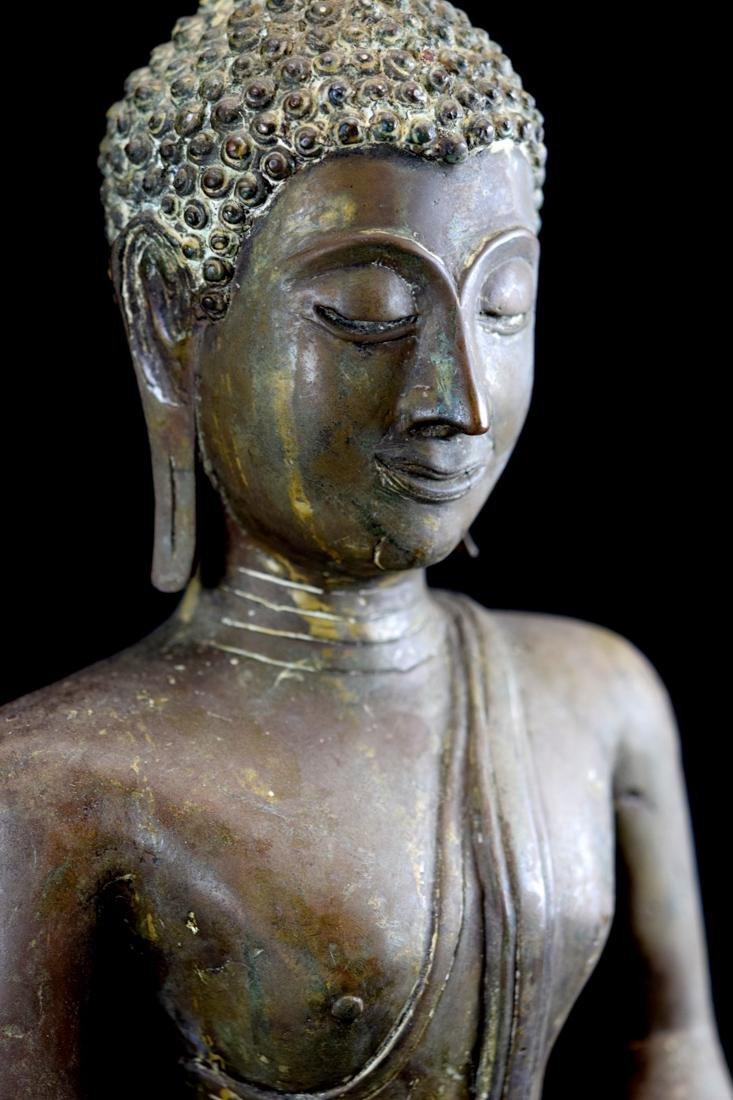 Antique Thai Bronze Seated Buddha with Wood Base - 2