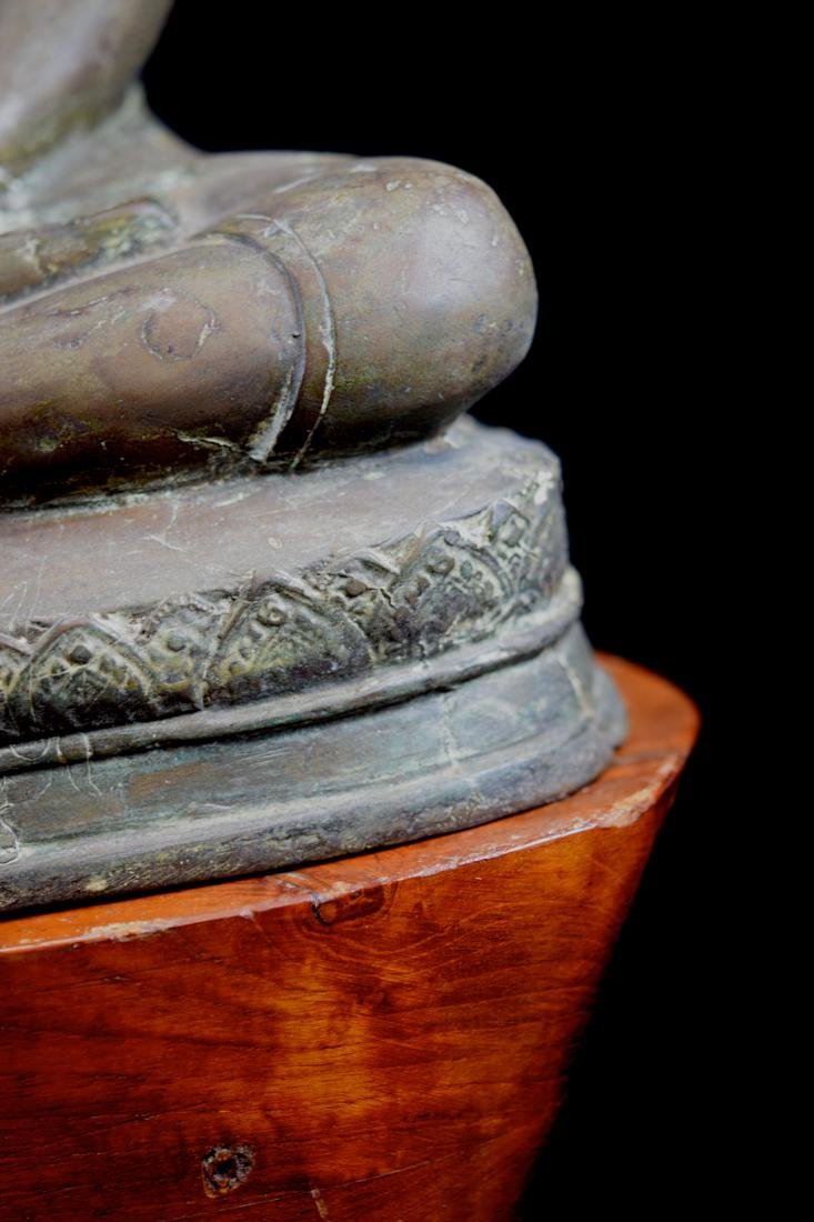 Antique Thai Bronze Seated Buddha with Wood Base - 3