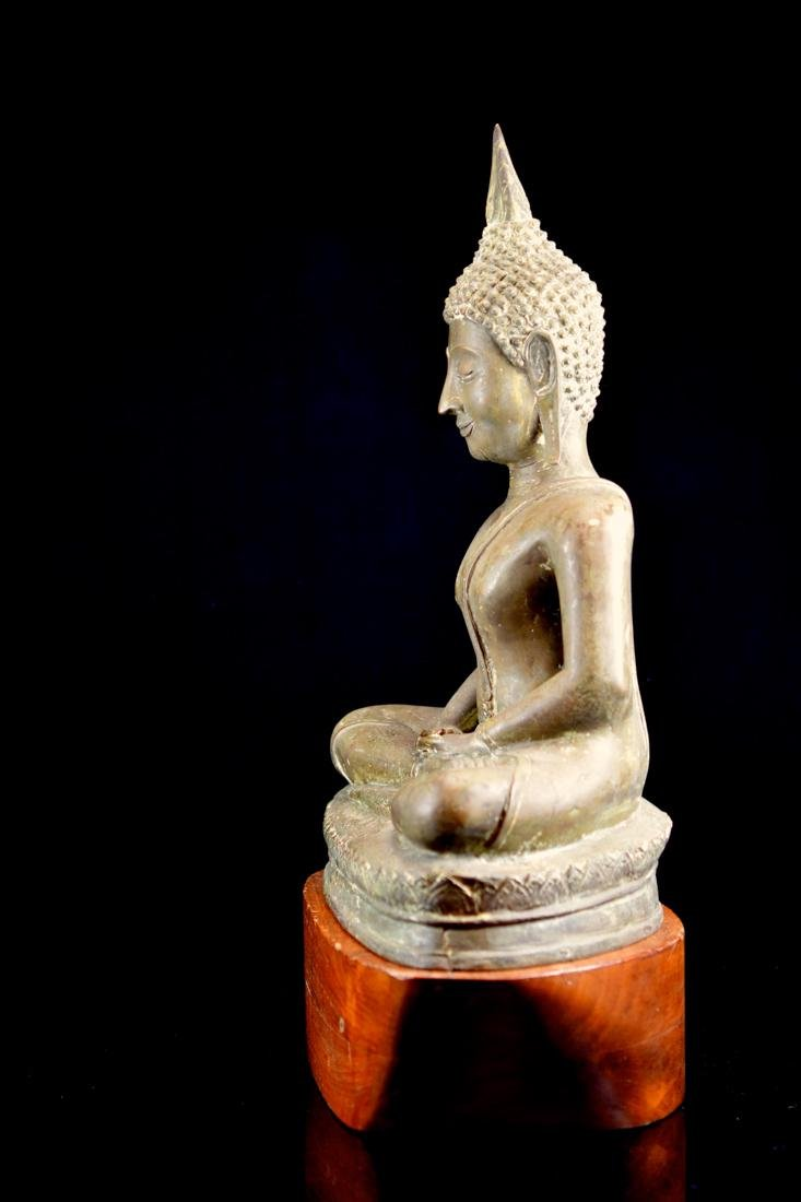 Antique Thai Bronze Seated Buddha with Wood Base - 5