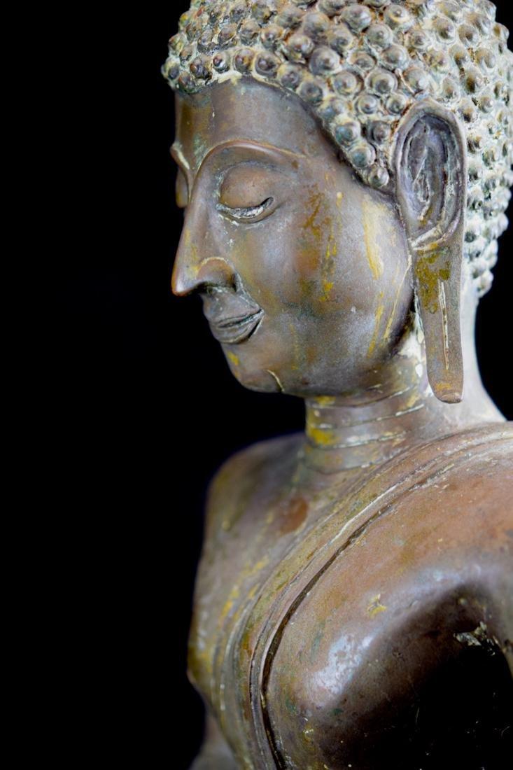 Antique Thai Bronze Seated Buddha with Wood Base - 6