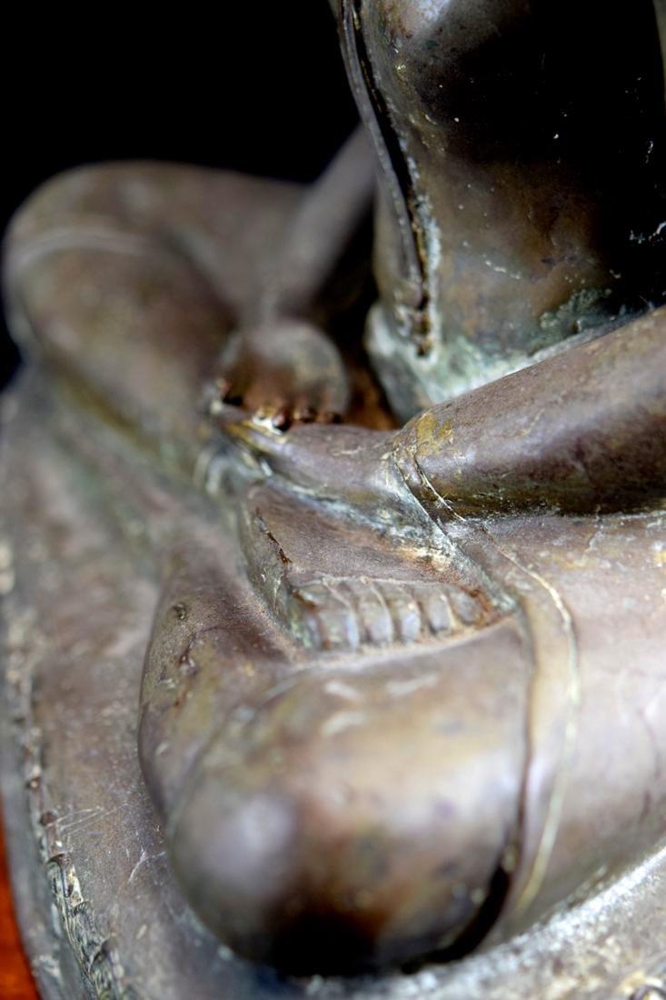 Antique Thai Bronze Seated Buddha with Wood Base - 7