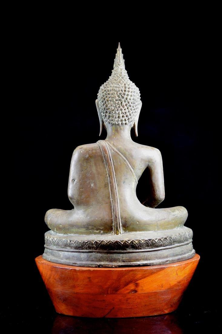 Antique Thai Bronze Seated Buddha with Wood Base - 8