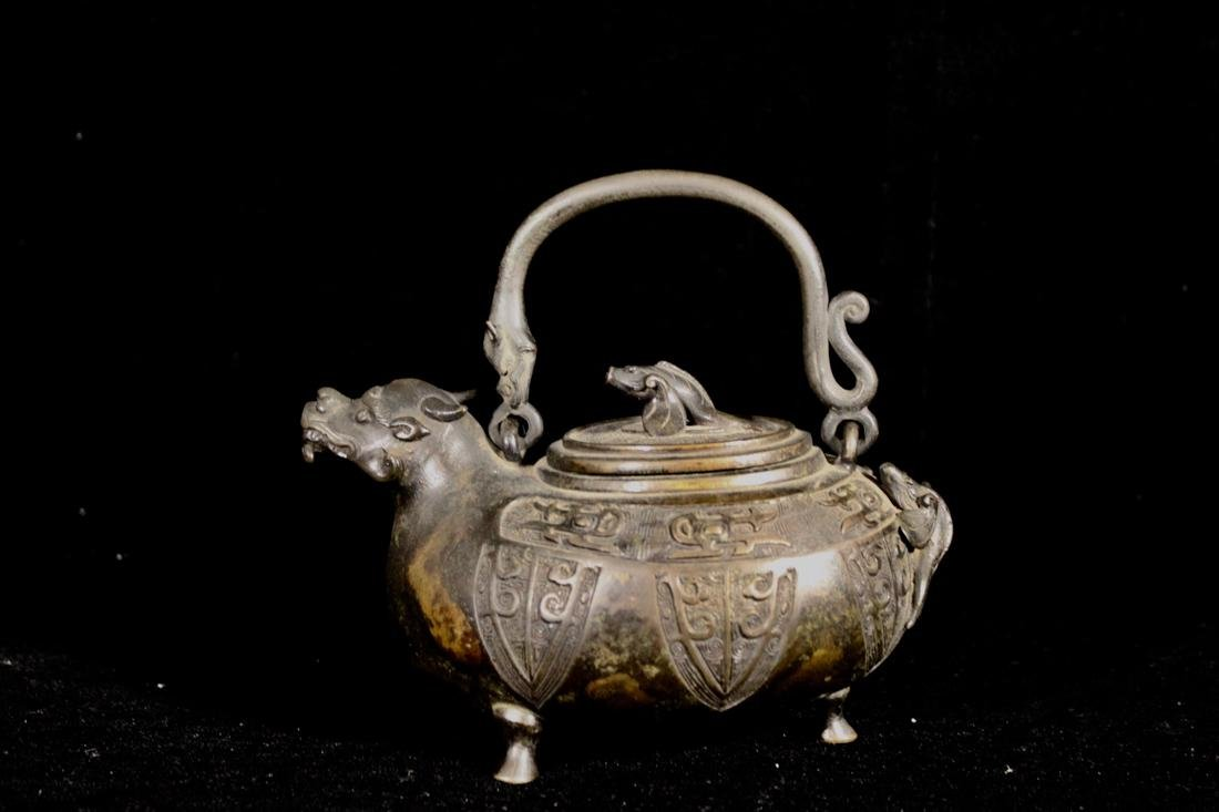 Chinese Bronze Teapot with Dragon Spout - Parcel Gold