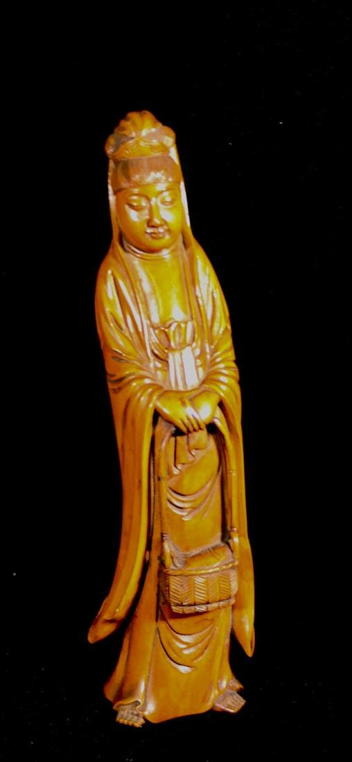 Japanese Boxwood Carving of a Standing Kuanyin