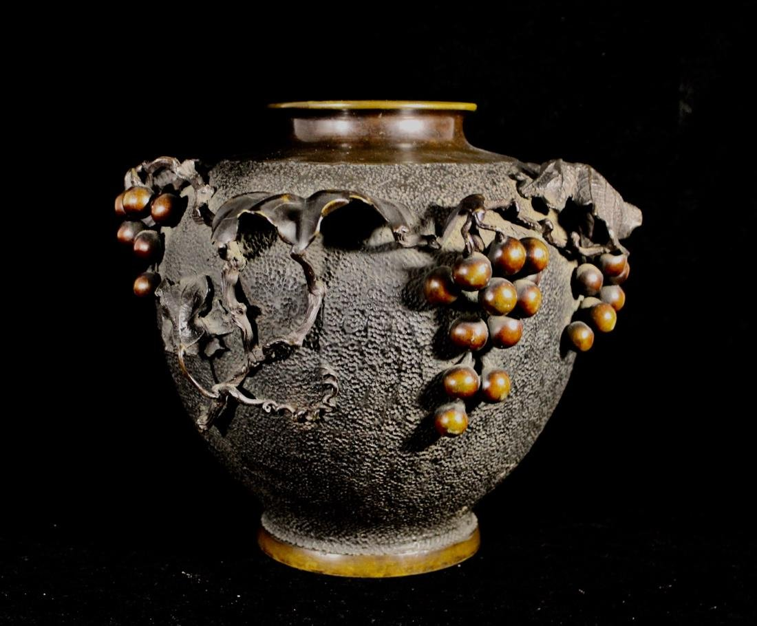 Japanese Bronze Vase with Grape Scene