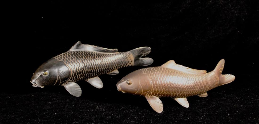 Two Japanese Meiji Bronze Carp by Hideaki