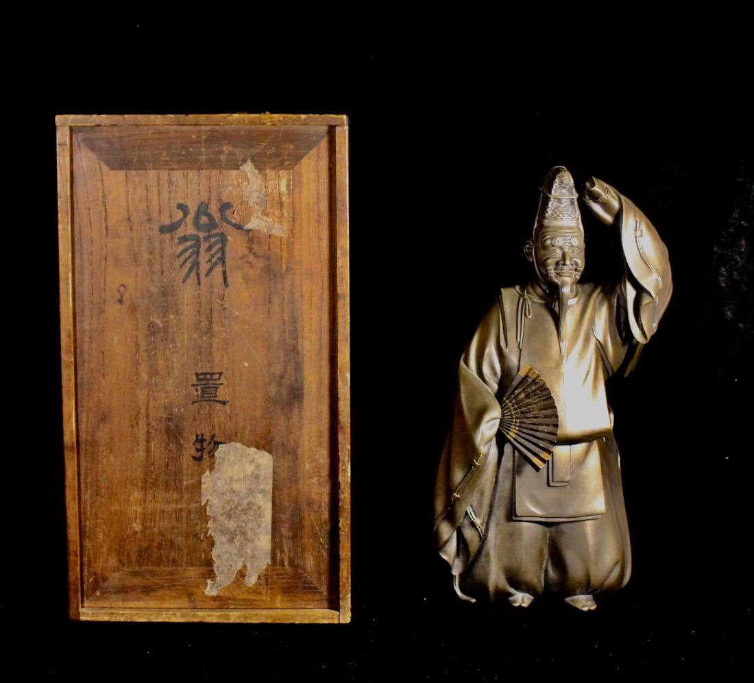 Japanese Mixed Metal Figurine with Wood Presentation
