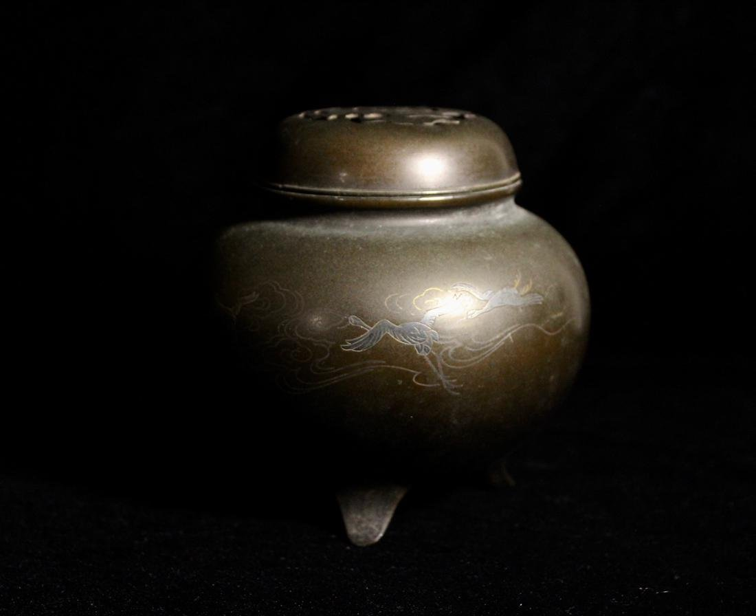 Japanese Bronze Censer with Silver Wire Inlay