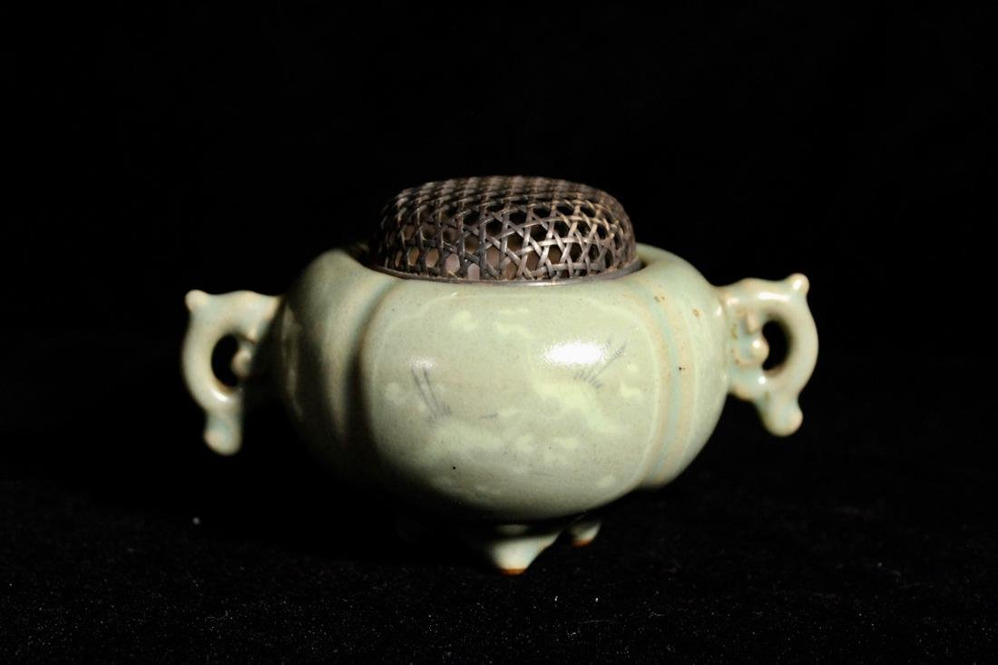 Korean Celadon Porcelain Censer with Silver Lid