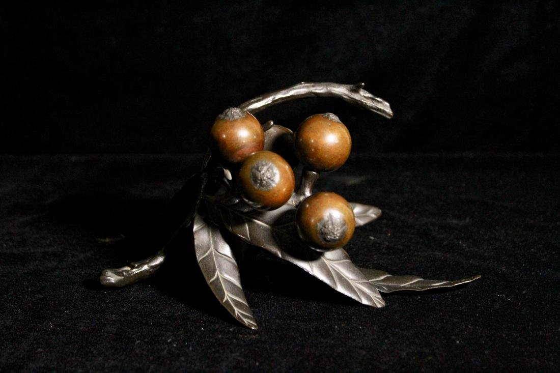 Japanese Bronze Okimono of Loquat