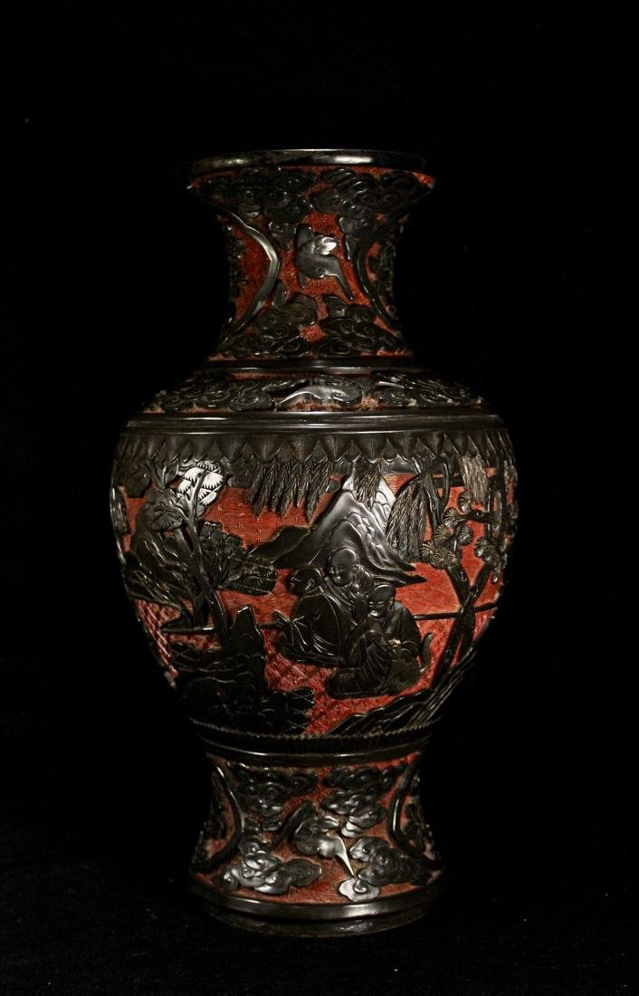 Chinese Carved Cinnebar Lacquer Vase with Lohan Scene