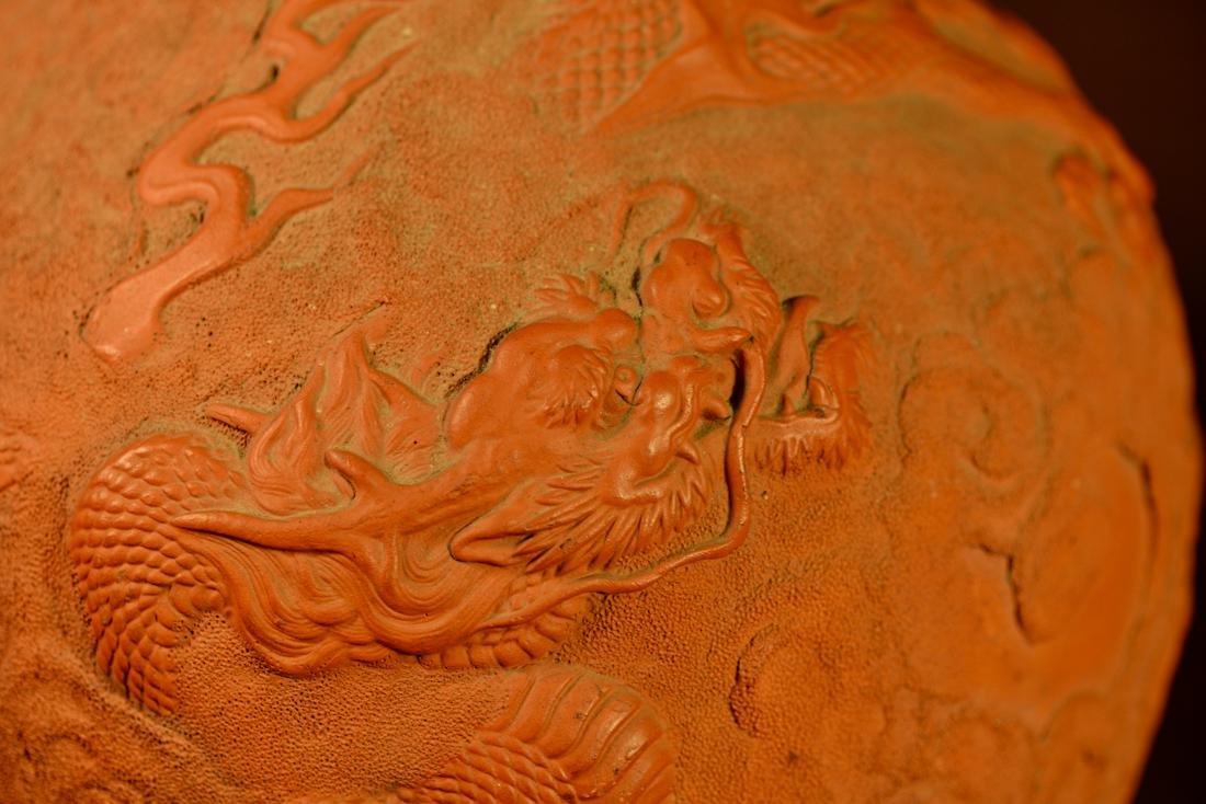 Japanese Tokoname Vase with Dragon Motif - Bronze Base - 2