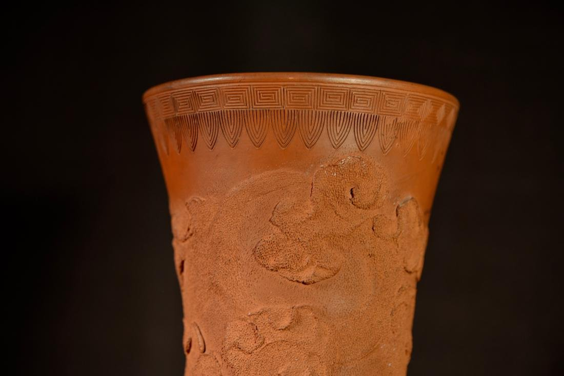 Japanese Tokoname Vase with Dragon Motif - Bronze Base - 3