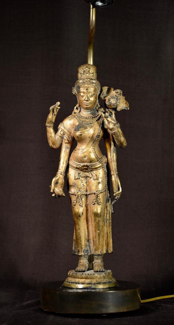 Asian Bronze Standing Buddha Mounted as Lamp