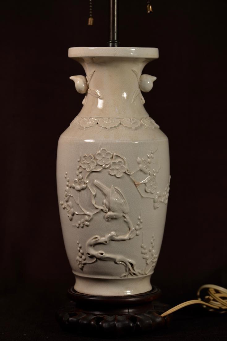 Chinese White Porcelain Vase Lamp with Moriage Bird