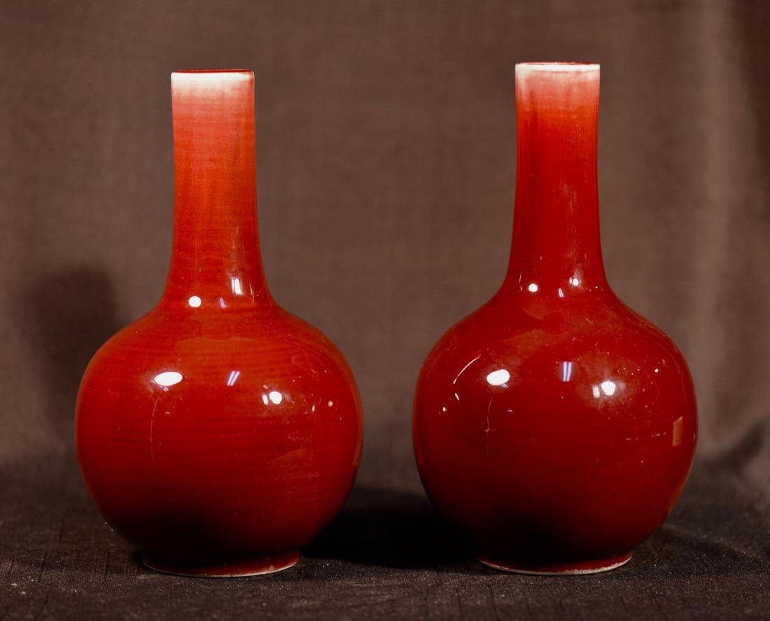 Pair Chinese Oxblood Porcelain Vase with Jingdezhen