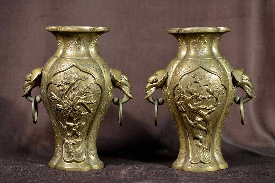 Pair Chinese Bronze Lobbed Vase with Dragon - Xuande