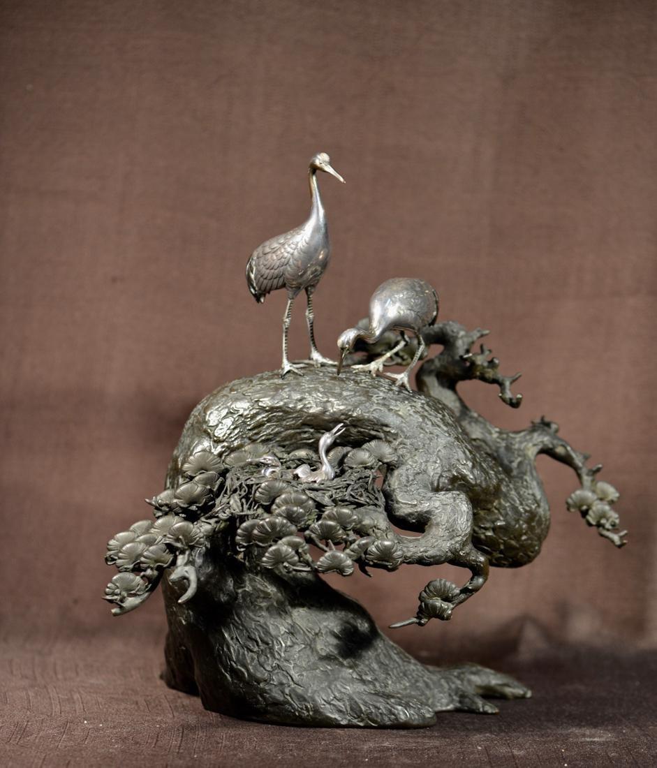 Japanese Meiji Bronze Crane and Pine Group - Signed