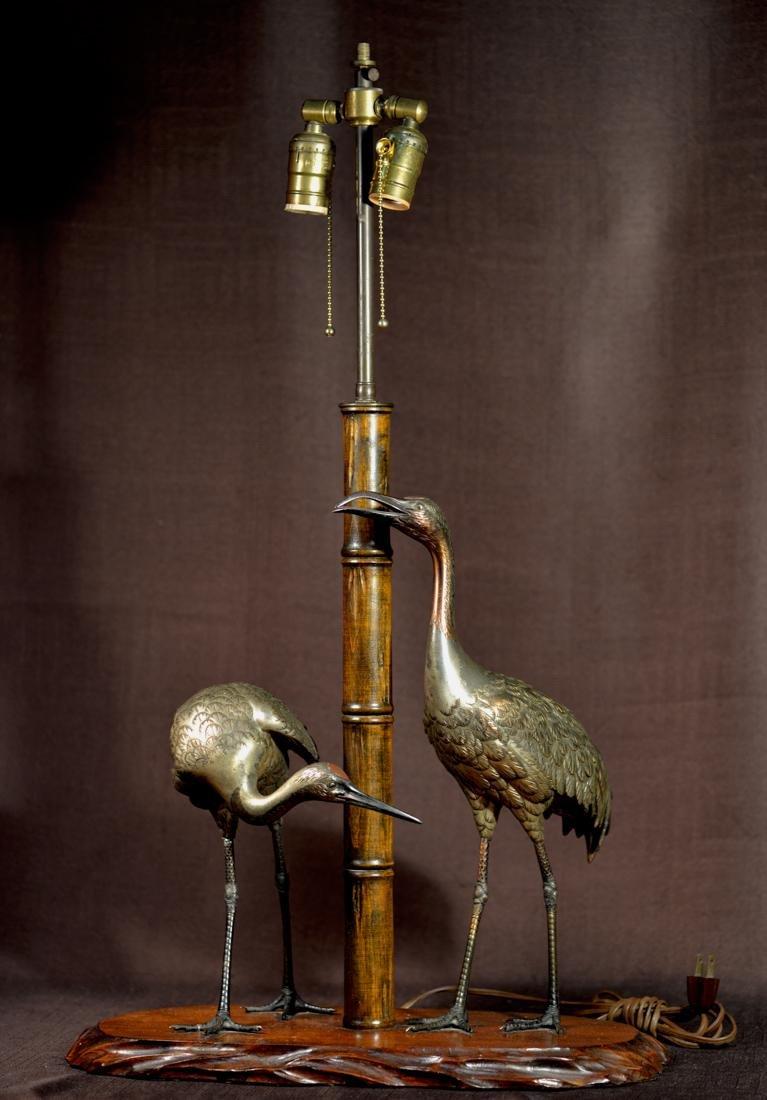 Japanese Brozne Crane and Bamboo Group - Mounted as
