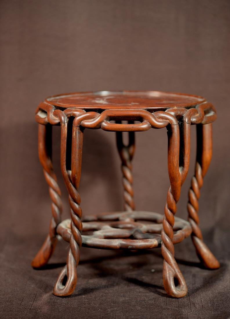 Chinese Rosewood Twrist Rope Scholar Stand