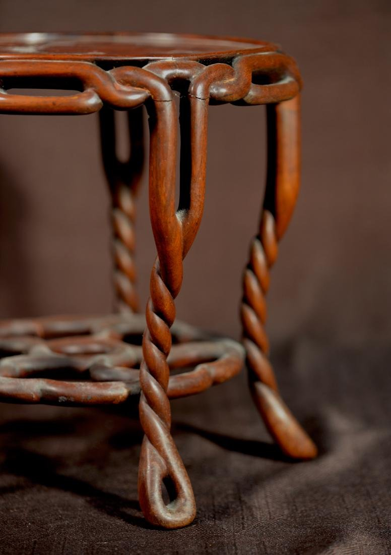 Chinese Rosewood Twrist Rope Scholar Stand - 4