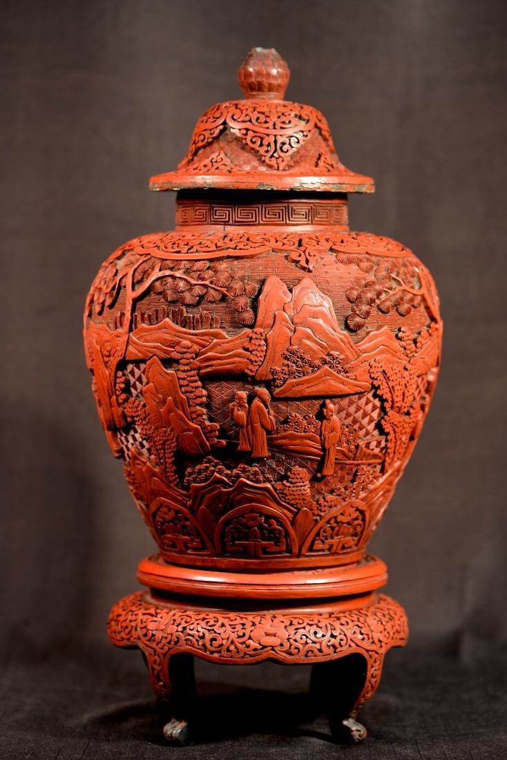 Chinese Cinnebar Covered Vase on Stand