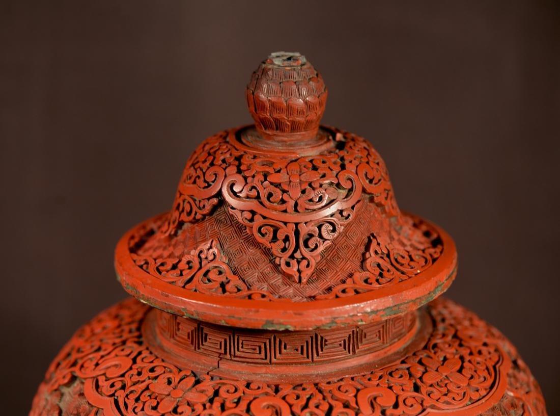 Chinese Cinnebar Covered Vase on Stand - 3